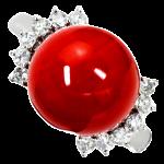 赤珊瑚ダイヤリング