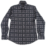 ロゴプリント長袖ストレッチシャツ 黒3