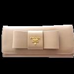 プラダ財布ビッグリボン付き型押し革2折り長財布