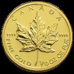 カナダメイプルリーフ金貨110oz3.1103gゴールド24K金貨