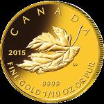 カナダ2015年メイプルリーフ・プレミアムコレクション金貨4種セットリバースプルーフ