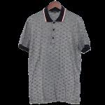 グッチポロシャツメンズ古着グレーブラック灰色黒XLサイズコットン半袖GG柄ウェビングライン
