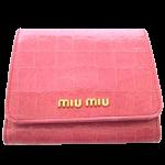 ミュウミュウ 財布 miumiu クロコ型押し三つ折り財布