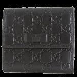 グッチブランドコピー財布シマ三つ折財布ブラック