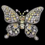 マルチカラーダイヤモンド バタフライ ブローチ